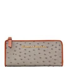 DOONEY & BOURKE Ostrich-Embossed Zip Clutch (Grey / Tan) - WO155GU NEW - $102.84