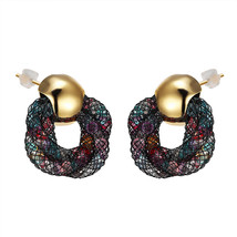 Colorful Crystals Gold Stud Earrings Women Full Crystal Mesh Pusety Star... - $7.99