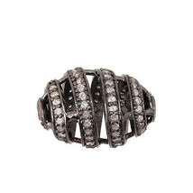 Vintage Inspired 925 Sterling Silver Pave Diamond Spacer Bead Handmade F... - $243.10