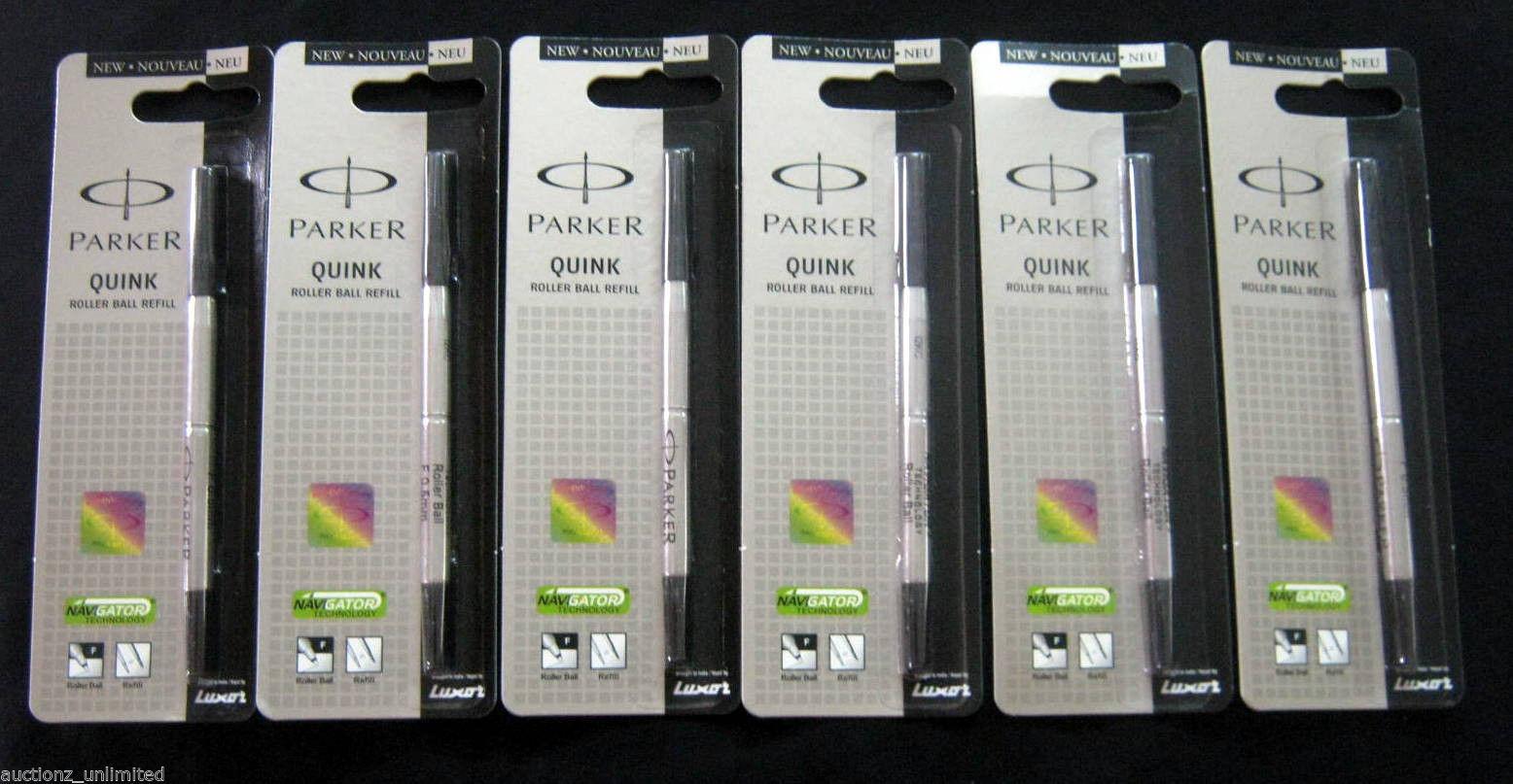 Parker Quink Roller Ball Refill, Black, Fine, New Sealed 100% Original- 6 Units