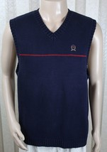 Vintage TOMMY HILFIGER Men's M Medium Navy Blue V-Neck Sweater Vest Ches... - $27.08