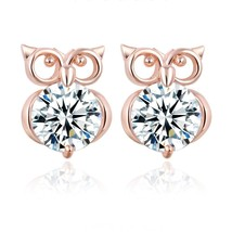 17KM® Fashion Big Crystal Owl Stud Earrings For Women Cute Animal Gold S... - $4.00