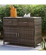 Brown Resin Wicker Deck Storage Cabinet Patio Buffet Server Sideboard Cu... - $513.81