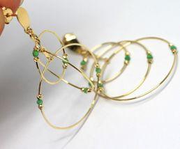 Tropfen Ohrringe Gelb Gold 750 18K, Triple Felge, Turmaline Grün, Kugel image 4