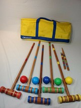 5 Player Wood Classic Croquet Yard Game Set w/ yellow Carrying Case - $30.00