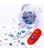 Nail Rhinestone Beads Mixed 1 Box AB Color Rivet Nail Studs Flat Back Na... - $3.61+