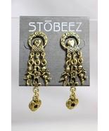 Stobeez Cherub Cupid Heart Fashion Chandelier Dangle Earrings Gold Tone ... - $17.81