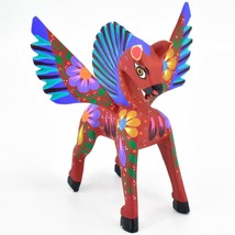 Handmade Alebrijes Oaxacan Wood Carving Painted Folk Art Pegasus Horse Figurine