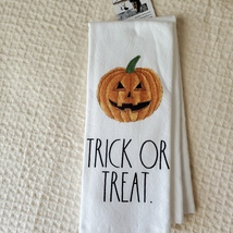 Rae Dunn Kitchen Towels, set of 2, Happy Halloween Trick or Treat image 3