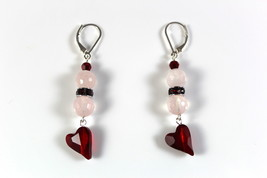 Faceted Rose Quartz Gemstone Dangle Drop Earrings Red Swarovski Crystals Stone o - $29.99