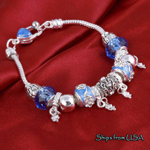 Amazingly Beautiful Charm Bracelet Blue and Silver - $9.99