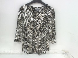 JM Collection Womens Scoop Neck 3/4 Sleeve Tiger Print Top Medium - $13.74