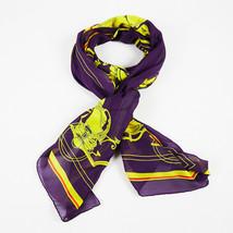 Hermes Purple Multicolor Silk Cotton Scarf - $285.00
