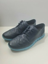 Cole Haan Zerogrand OS Blue Leather Wingtip Brogue Oxford Sneaker Womens 7.5 B - $59.90