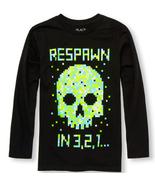 Boys long sleeve neon skull graphic top - $6.50