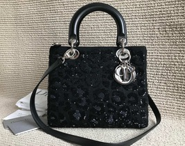 AUTH Christian Dior Lady Dior LIMITED EDITION Medium Black Sequin Leather Tote B