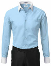 New Open Box Repackaged Men's Long Sleeve Two Tone Dress Shirts Colors image 7