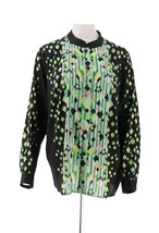 Bob Mackie Printed Button Front Stand Collar Blouse Green Multi XS NEW A... - $34.63