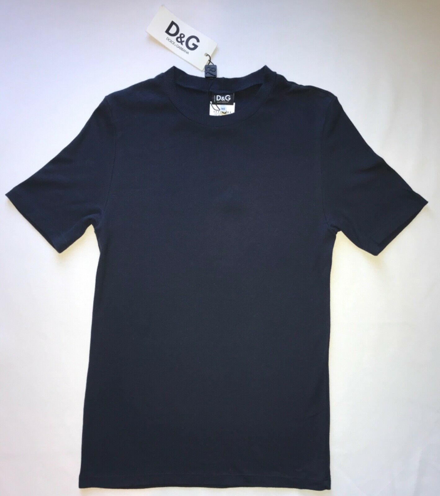 Primary image for D & G Dolce & Gabbana Ribbed T-shirt in Ribbed Navy Blue Stretch Cotton Blend, M