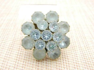 Kramer Blue Rhinestone Glass Floral Flower Gold Tone Brooch Pin