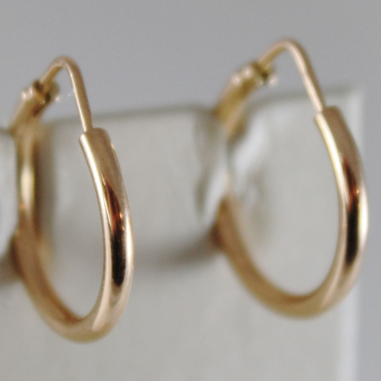 18K ROSE GOLD EARRINGS LITTLE CIRCLE HOOP 18 MM 0.71 IN DIAMETER MADE IN ITALY