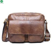 genuine leather men messenger bags vintage small men shoulder bag casual... - $57.87