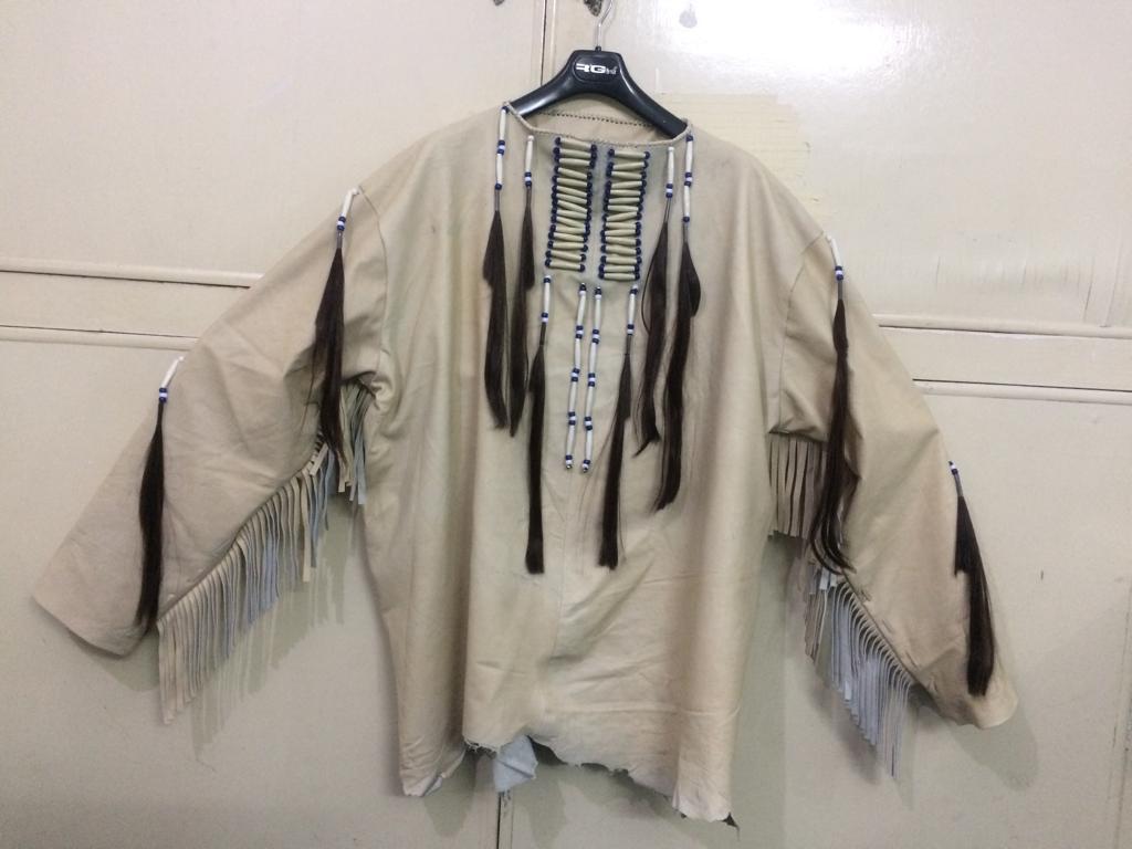 New Mens Native American Beige Buckskin Goat Leather Hippie War Shirt NA46 image 5