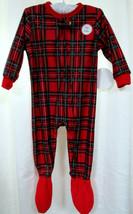 Holiday Plaid Flannel One Piece Footie 24 Mo Red Tartan Brinkley Pajamas... - $12.73