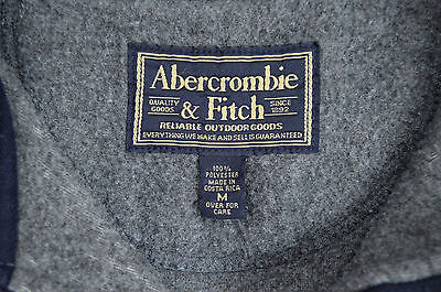 A&F Gray Blue Thermal Fleece Sporty Lightweight Polo 1/2 Zip Pull Over Jacket M