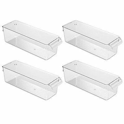 Utility Organizer Bin 4 Pack Clear Kitchen Bins Pantry Cabinet Storage NEW