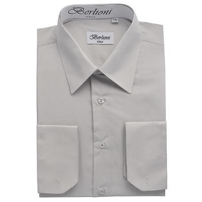 BERLIONI ITALY MEN'S PREMIUM FRENCH CONVERTIBLE CUFF SOLID DRESS SHIRT SILVER