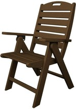 POLYWOOD Patio Dining Chair Folable Weather Resistant Plastic Teak Finish - €237,89 EUR