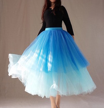 Blue Layered Tulle Skirt Blue Puffy Tulle Skirt Plus Size image 5