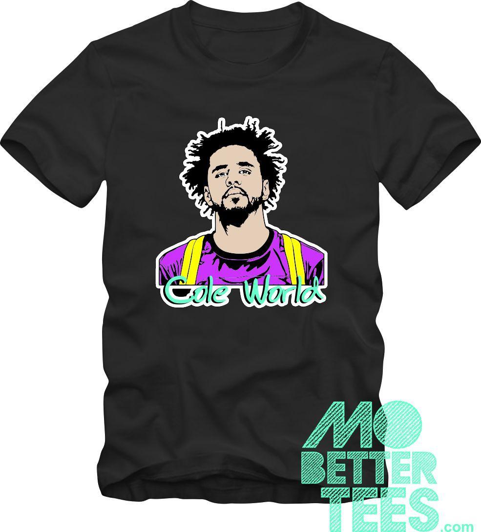 Custom Printed Black Cole World T-Shirt J cole for sale  USA