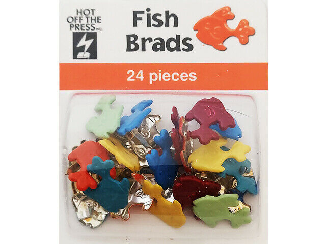 Hot Off the Press Fish Brads, 24 Pieces