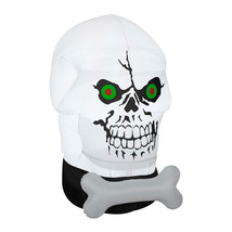 Halloween Outdoor Inflatable Skull Face Lighted Decoration Self Inflatin... - $45.89