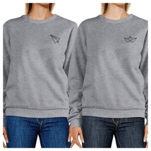 Origami Plane And Boat BFF Matching Grey Sweatshirts - $40.99+