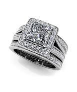 Women's Trio Wedding Ring Set Princess Cut CZ Silver 925 14k White Gold ... - $132.99