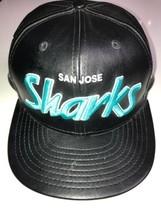 San Jose Sharks Black Faux Leather Black hat New Era 9Fifty Snap Back NHL - $37.39