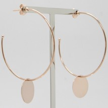 Gold Earrings Pink 750 18k Circles with disc Pendant Made in Italy image 2