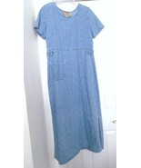 STUDIO EASE Clothing Co Maxi Jean Dress Blue Washed Denim SS 100% Cotton 8 - $29.95