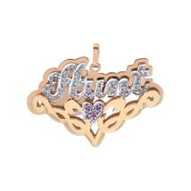 0.10 Carat Diamond & 0.03 Carat Rubies 'Aunt' Nameplate Pendant 14K Two Tone Gol - $375.21