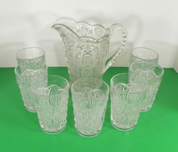 Imperial Vintage Glass DAISY AND BUTTON Water Pitcher Set with 7 Tumbler (s) image 1