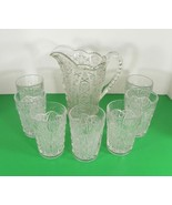Imperial Vintage Glass DAISY AND BUTTON Water Pitcher Set with 7 Tumbler... - $108.85