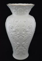 "Lenox Georgian Ivory Vase Porcelain 24K Gold Trim Embossed Large 10"" Tall - $49.95"