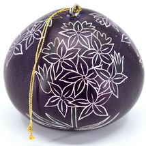 Handcrafted Carved Gourd Art Purple Hyacinth Floral Ornament Made in Peru image 3