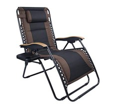 LUCKYBERRY Deluxe Oversized Padded Zero Gravity Chair XL Black Brown Cup... - $118.69
