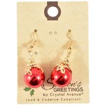 Crystal Avenue Red Ball Ornament Christmas Holiday Theme Drop Dangle Earrings image 1