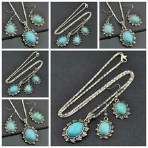 6set Fashion Flowers Turquoise Pendant Necklace Earrings set - $40.00