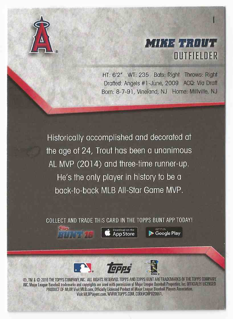 2016 Topps Bunt Mike Trout #1 – MINT